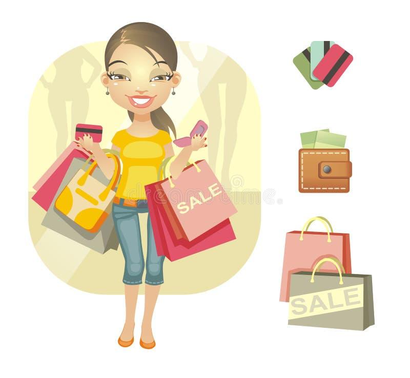 Het winkelen dag stock illustratie