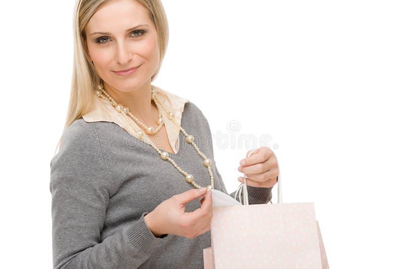 Het winkelen de gelukkige zak van de vrouwenmanier stock afbeelding