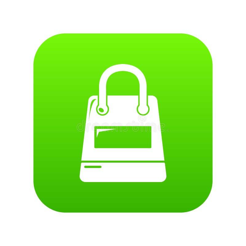 Het winkelen de groene vector van het zakpictogram stock illustratie
