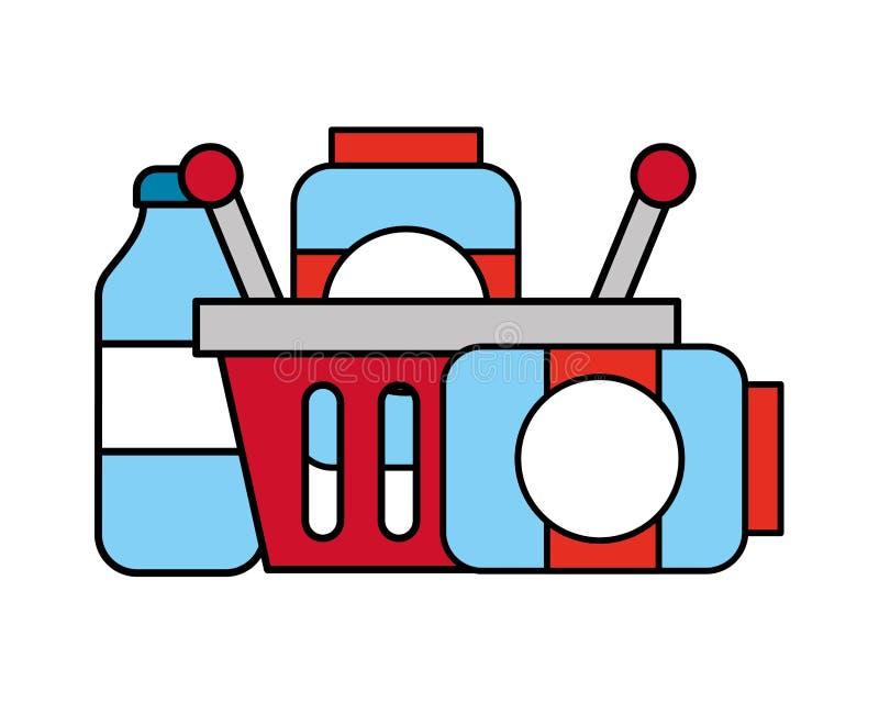 Het winkelen de kruiken van het mandglas en flessensupermarkt stock illustratie