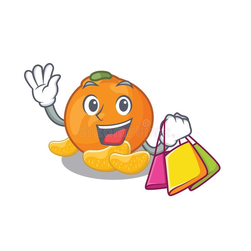 Het winkelen de mandarijn wordt opgeslagen in beeldverhaalijskast royalty-vrije illustratie
