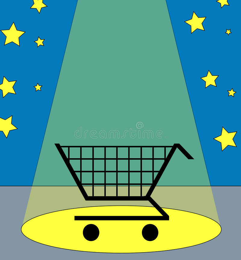 Het winkelen in de schijnwerper royalty-vrije illustratie