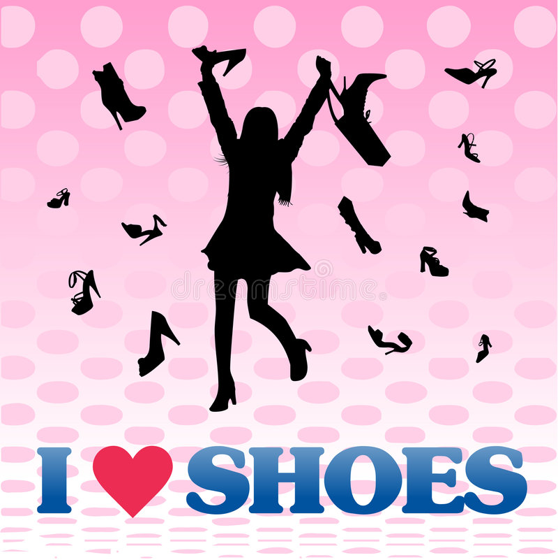Het winkelen de schoenen van de meisjesliefde stock illustratie