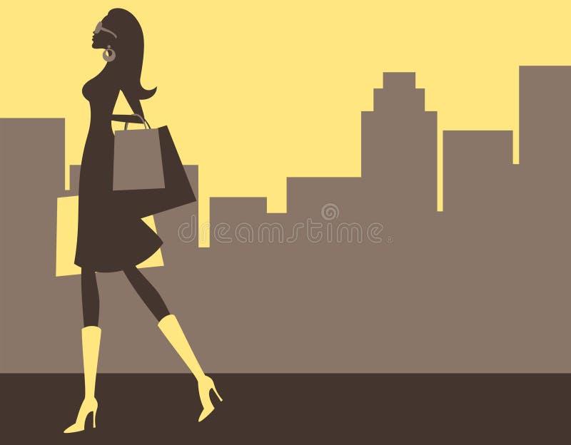 Het winkelen in de Stad royalty-vrije illustratie