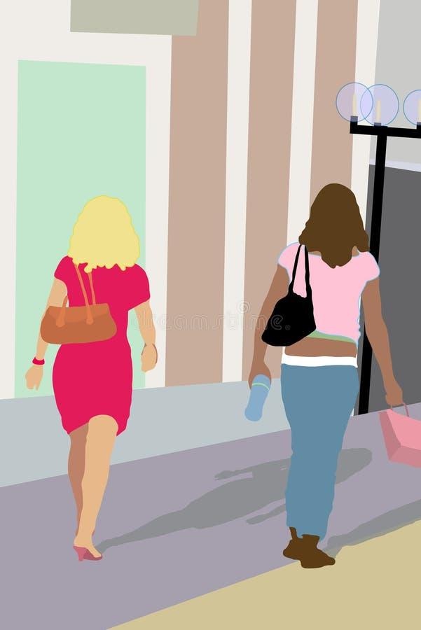 Het winkelen in de Stad - Illustratie vector illustratie