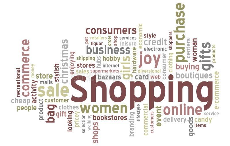 Het winkelen de Wolk van Word vector illustratie