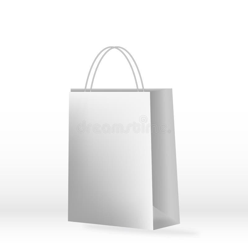 Het winkelen document zak die op wit wordt geïsoleerde Magere witte zak Ð ¡ met handvatten Vector illustratie EPS10 royalty-vrije illustratie