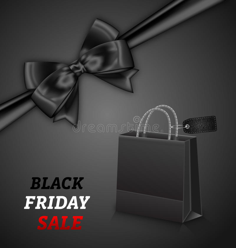 Het winkelen Document Zak voor de Verkoop en de Boog van Black Friday vector illustratie