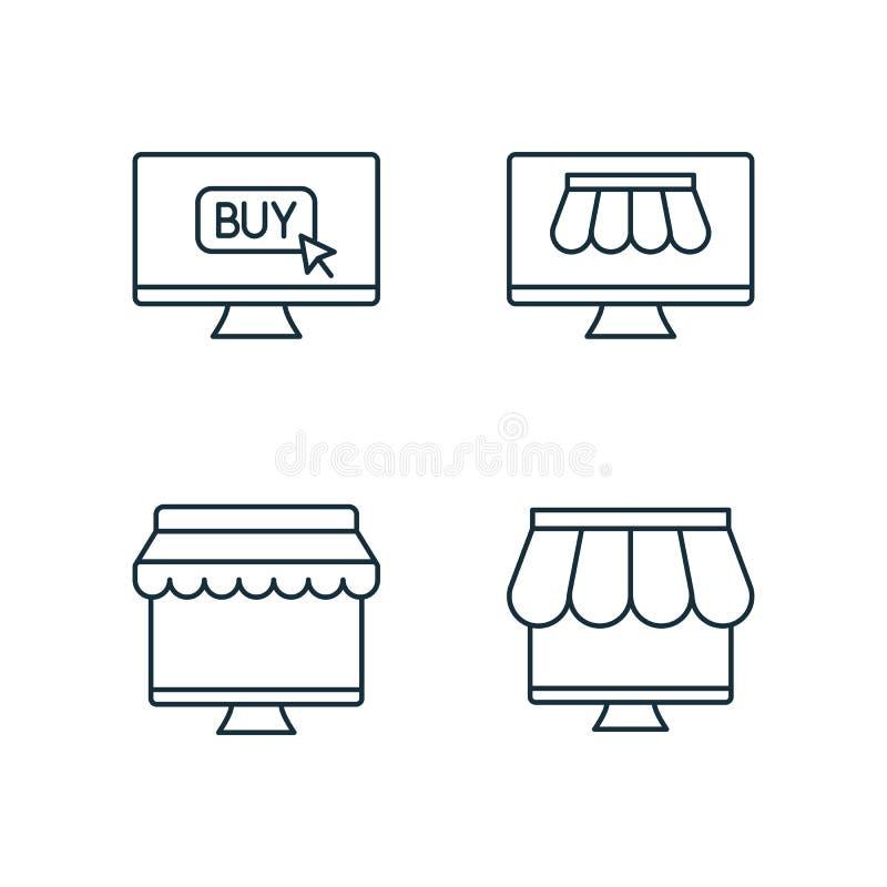 Het winkelen door de online die pictogrammen van de marktlijn op witte achtergrond worden geplaatst stock afbeeldingen