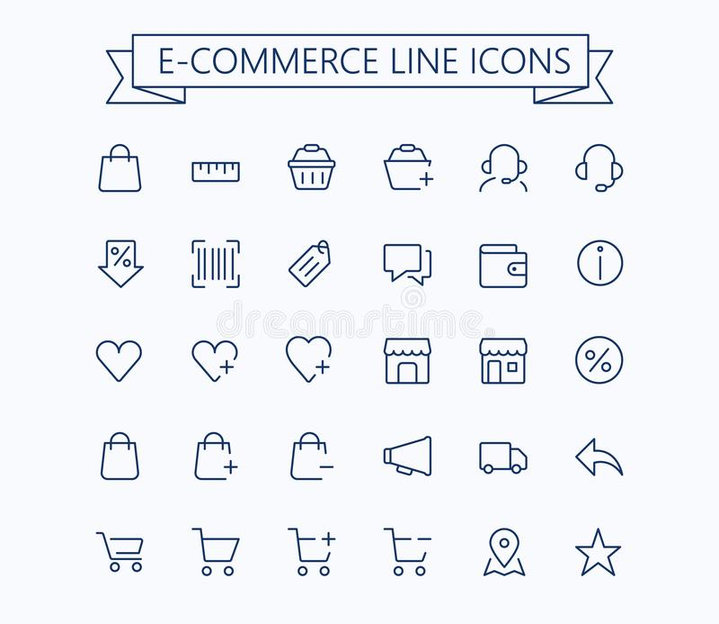 Het winkelen, elektronische handel, online opslag, mini geplaatste pictogrammen van de elektronische handel de vector dunne lijn  stock illustratie