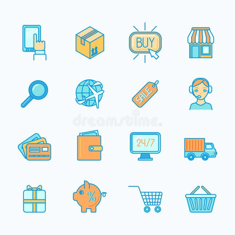 Het winkelen elektronische handelpictogrammen geplaatst vlakke lijn royalty-vrije illustratie