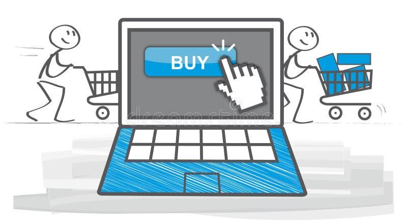 Het winkelen en elektronische handel royalty-vrije illustratie