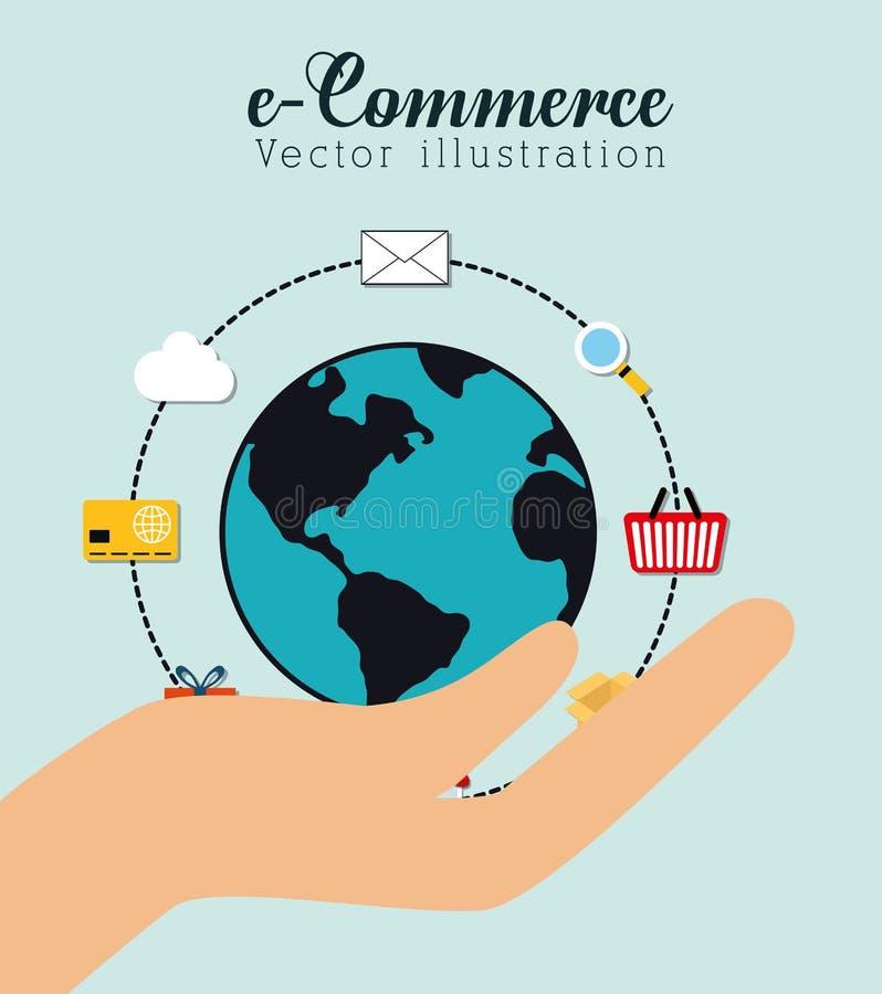 Het winkelen en elektronische handel grafisch ontwerp vector illustratie