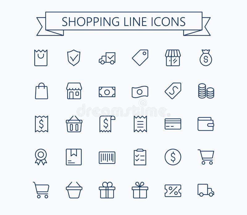 Het winkelen en Elektronische handel vector mini geplaatste pictogrammen Het dunne Net van het lijnoverzicht 24x24 Perfect pixel royalty-vrije illustratie