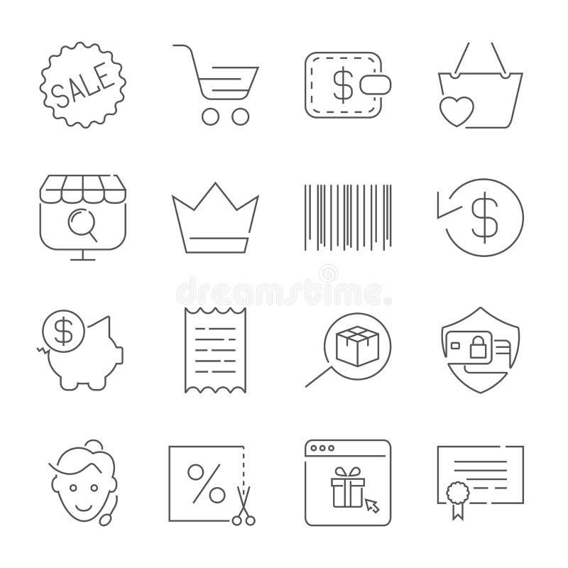 Het winkelen en Elektronische handelpak Lijnpictogrammen die voor apps, programma's worden geplaatst, vector illustratie