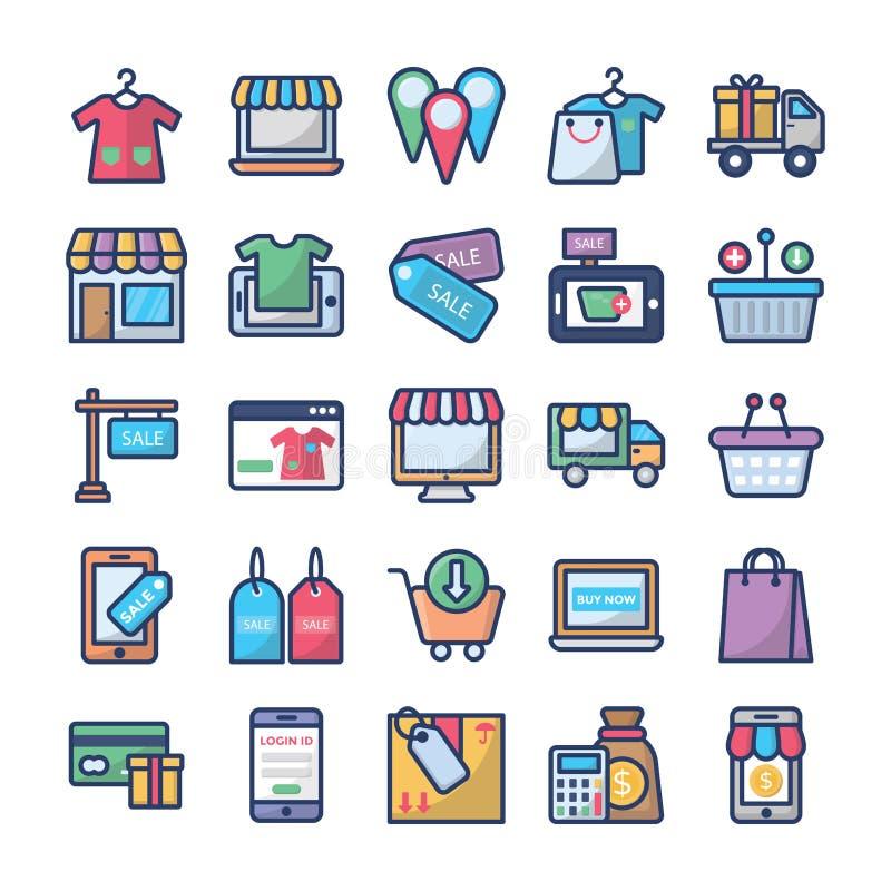 Het winkelen en handels geplaatste pictogrammen vector illustratie