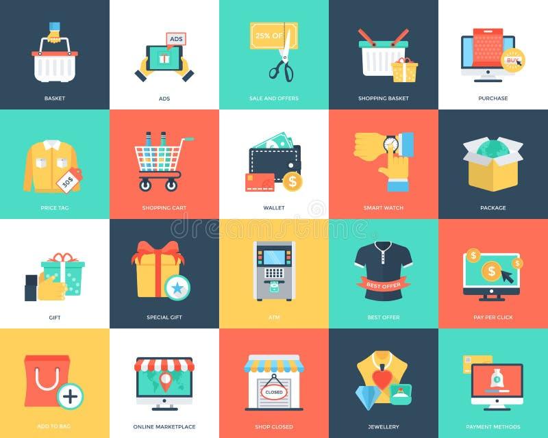 Het winkelen en handels vlakke geplaatste pictogrammen vector illustratie