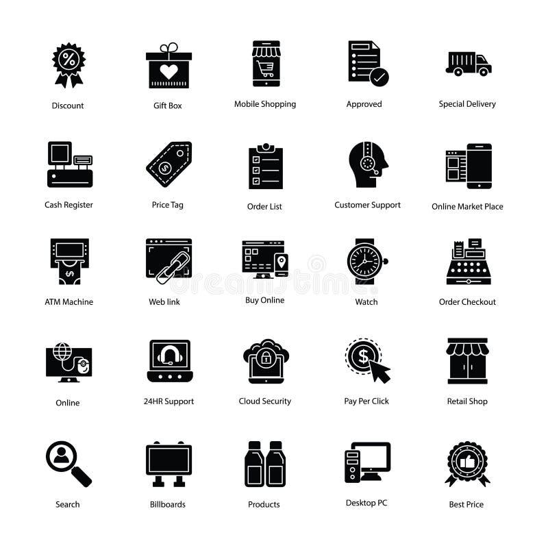 Het winkelen en handelspictogrammen vector illustratie