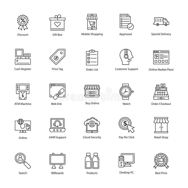 Het winkelen en handelspictogrammen stock illustratie