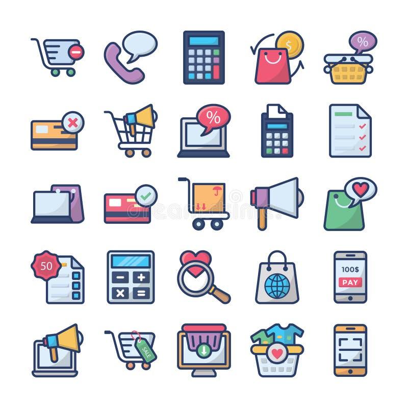 Het winkelen en handelspictogrammeninzameling royalty-vrije illustratie