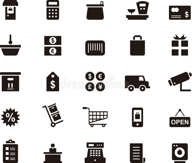 Het winkelen en handelspictogramreeks stock illustratie