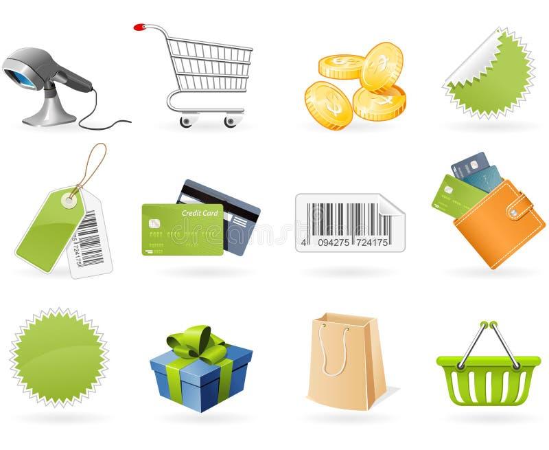 Het winkelen en kleinhandelspictogrammen stock illustratie
