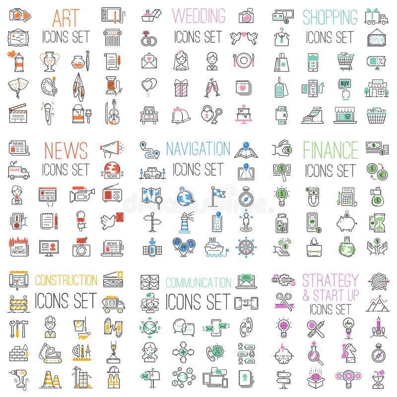 Het winkelen, financiën, zaken, mededelingen, huwelijk, mega vastgestelde het overzichts vectorpictogrammen van de navigatieinter stock illustratie