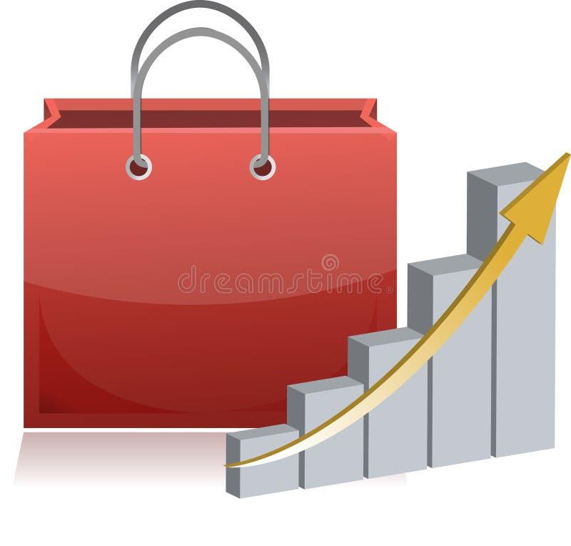 Het winkelen financiënteken en grafiek royalty-vrije illustratie