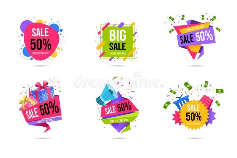 Het winkelen geplaatste de bannersmalplaatjes van het verkoopweb Beperkte tijd halve prijs, 50 percenten van kortingsspeciale aan royalty-vrije illustratie