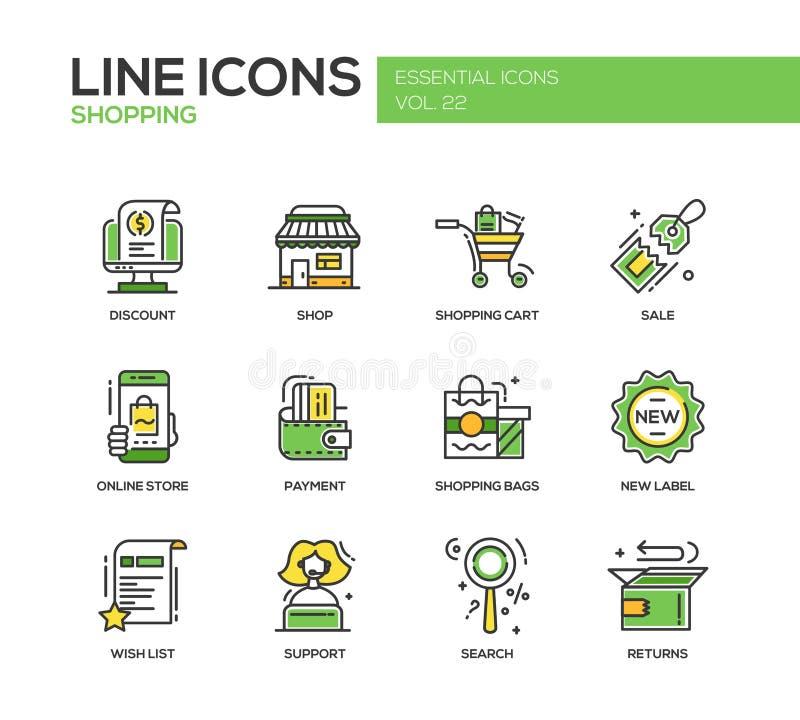 Het winkelen - geplaatste de pictogrammen van het lijnontwerp