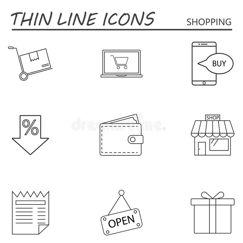 Het winkelen geplaatste lijn de pictogrammen, schetsen vectorsymboolinzameling, linea stock illustratie