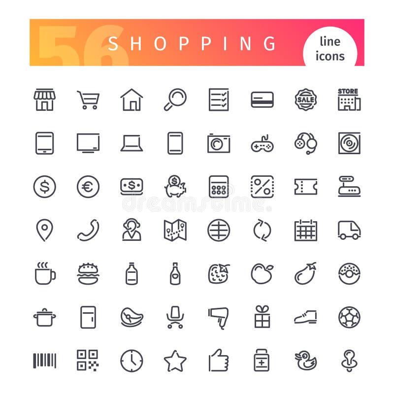 Het winkelen Geplaatste Lijnpictogrammen royalty-vrije illustratie