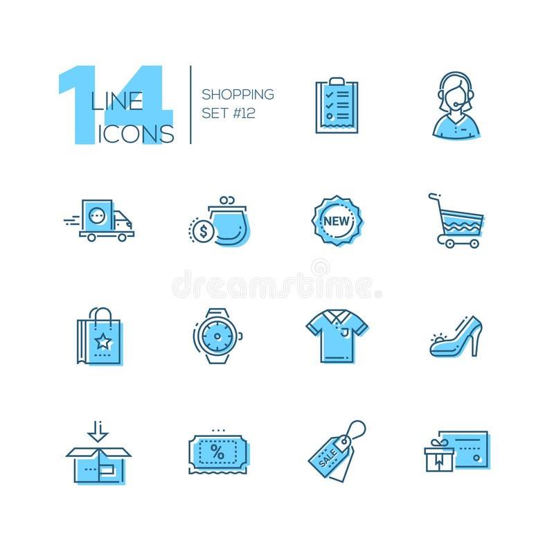 Het winkelen - geplaatste lijnpictogrammen royalty-vrije illustratie