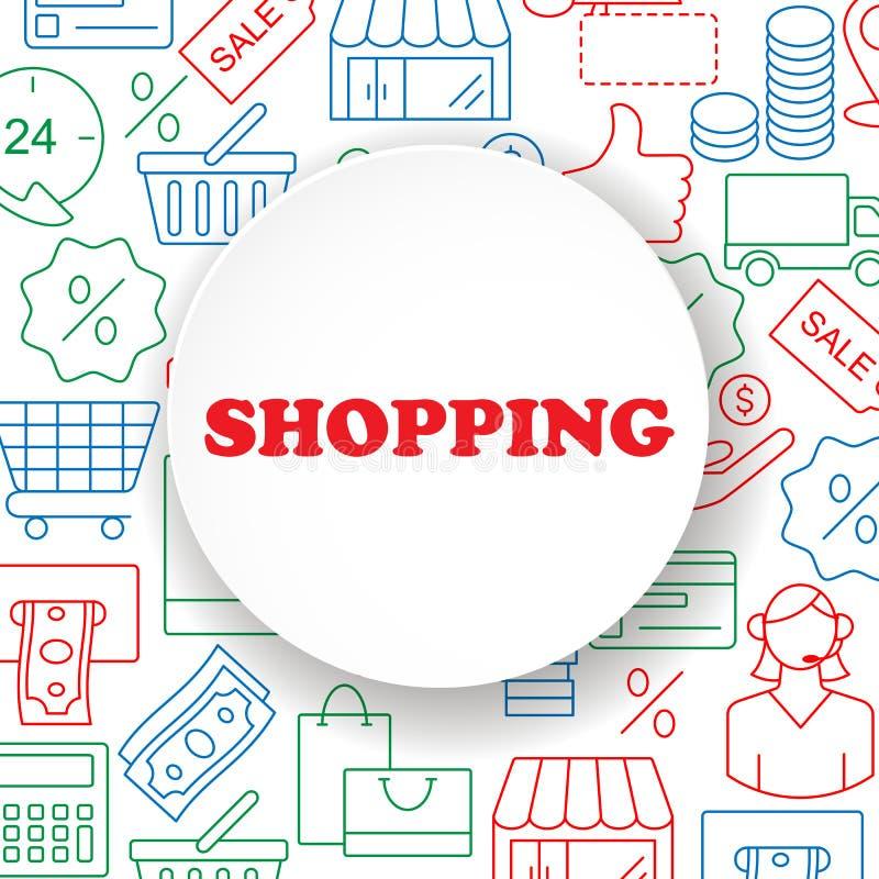 Het winkelen geplaatste overzichtspictogrammen stock illustratie