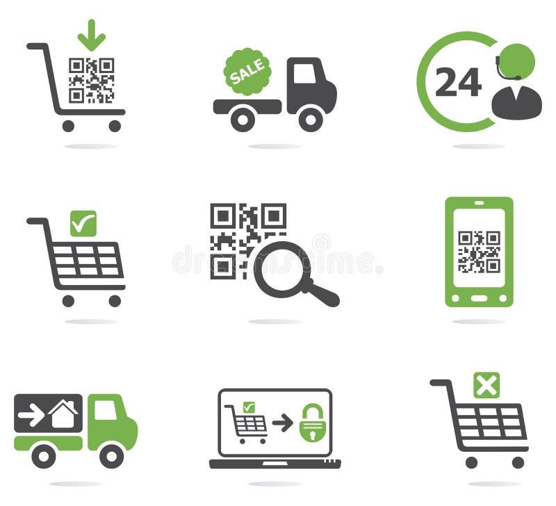 Het winkelen geplaatste pictogrammen stock illustratie