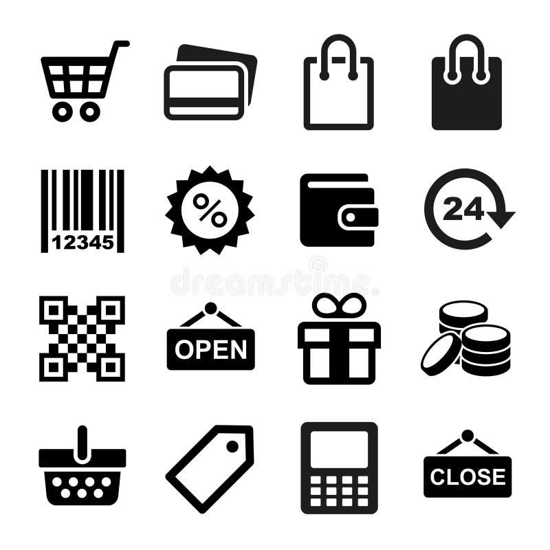 Het winkelen geplaatste Pictogrammen royalty-vrije illustratie