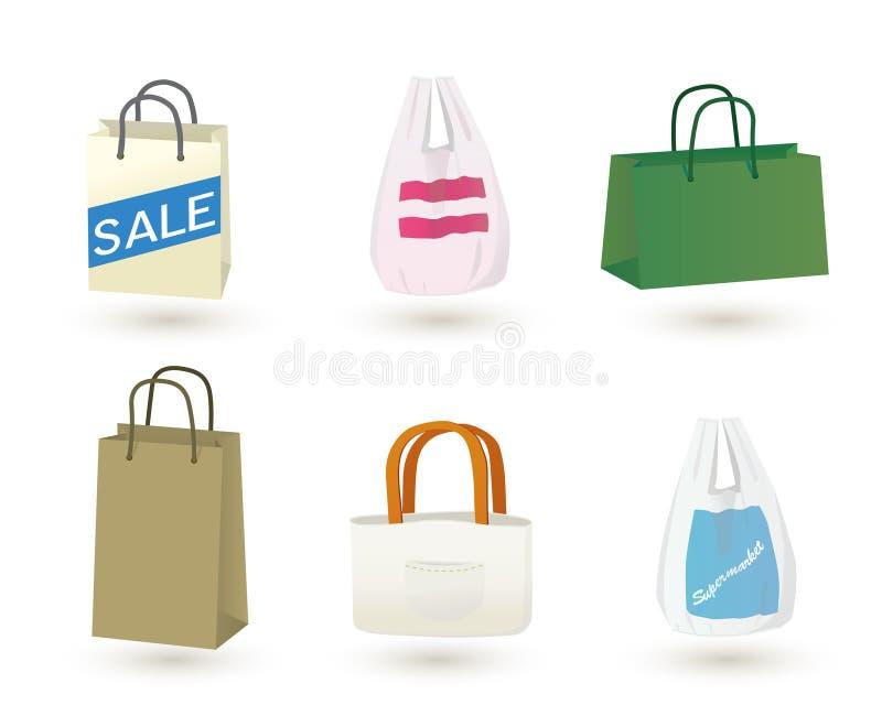 Het winkelen geplaatste zakken vector illustratie