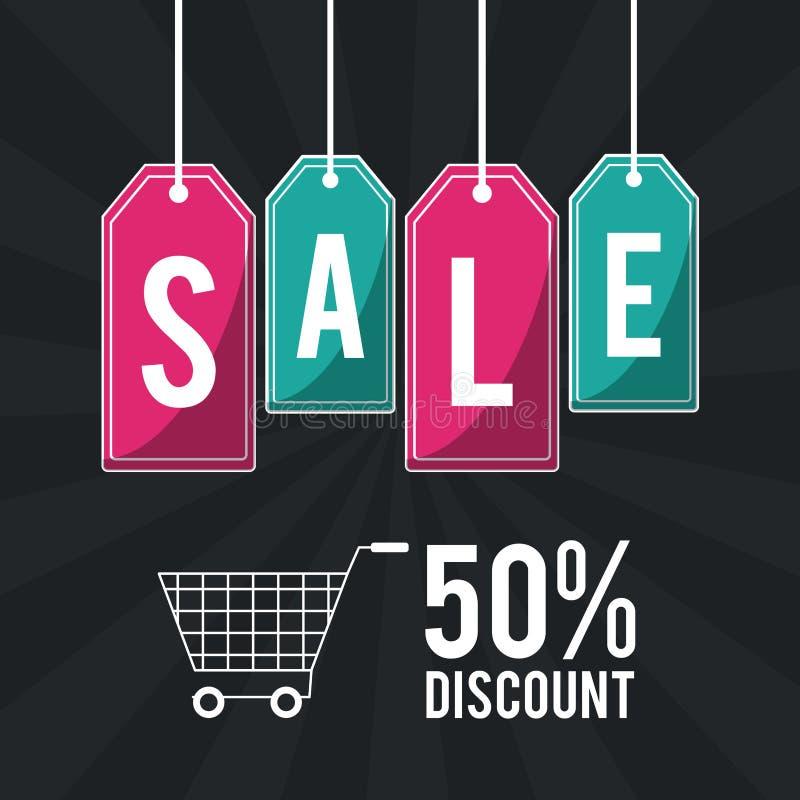 Het winkelen grote verkoop en kortingen stock illustratie