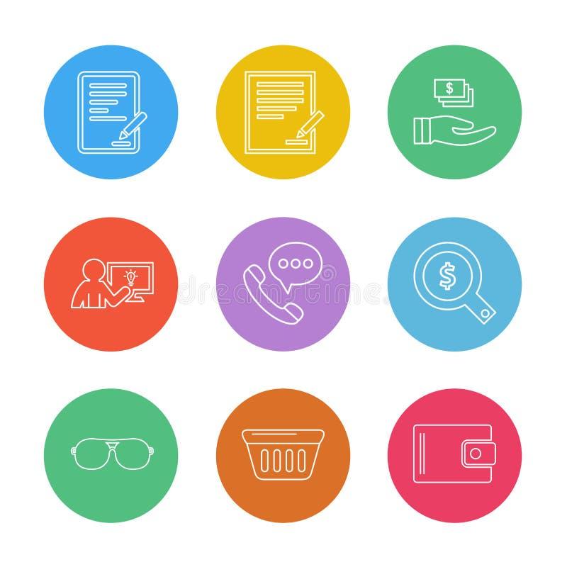 Het winkelen, kar, geld, grafiek, gebruikersinterface, eps geplaatste pictogrammen royalty-vrije illustratie