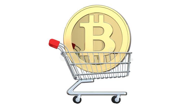 Het winkelen karretje met muntstukken bitcoin, het concept investering, uitwisselings of aankoopcryptocurrencygeld het 3d terugge stock illustratie