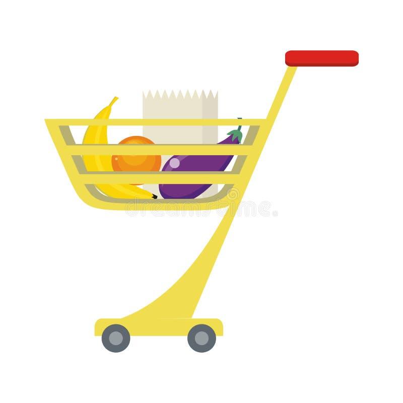 Het winkelen Karretje met Voedingsmiddelen stock illustratie