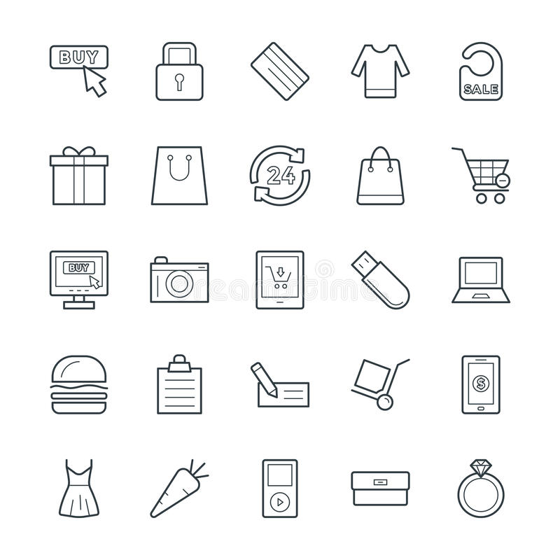 Het winkelen Koele Vectorpictogrammen 4 stock illustratie