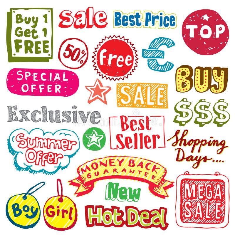 Het winkelen krabbels vector illustratie