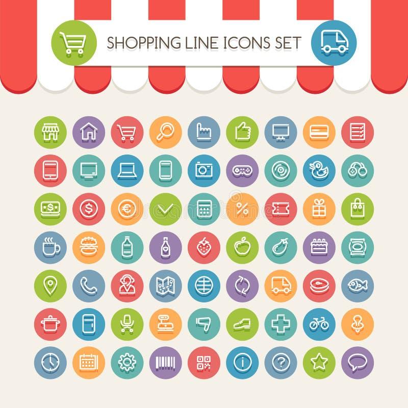 Het winkelen Lijn om Geplaatste Pictogrammen stock illustratie