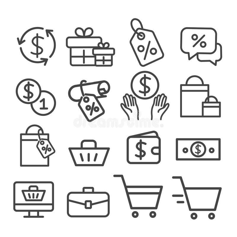 Het winkelen lijnpictogrammen geplaatst geïsoleerd Modern overzicht op witte achtergrond vector illustratie