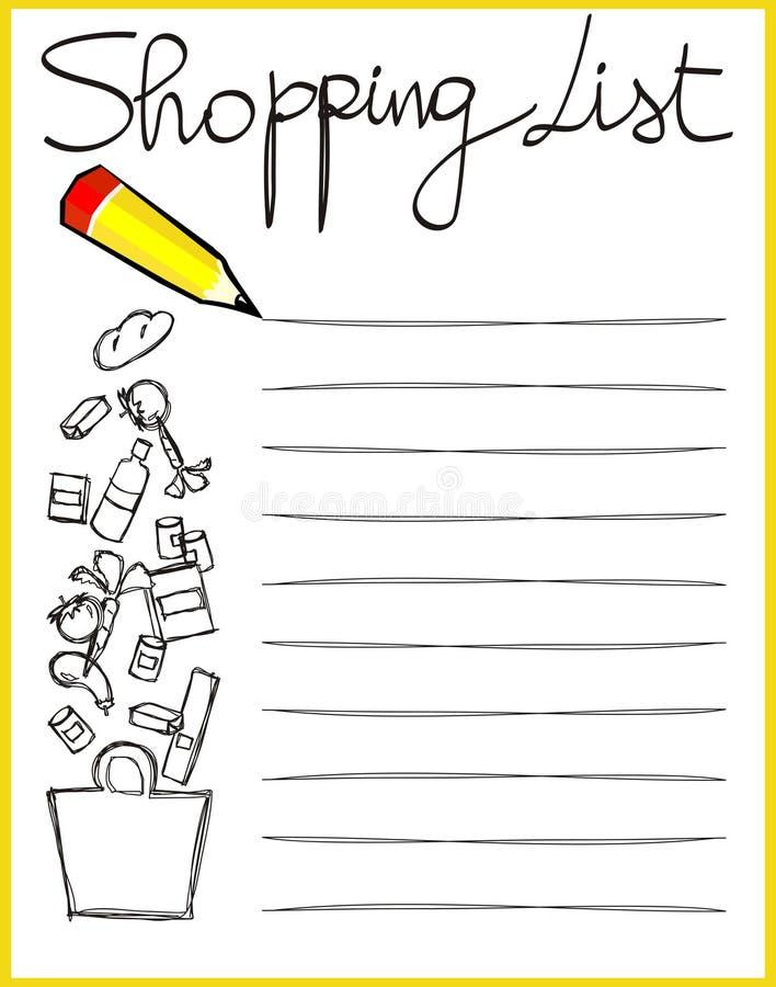 Het winkelen lijst royalty-vrije stock afbeeldingen