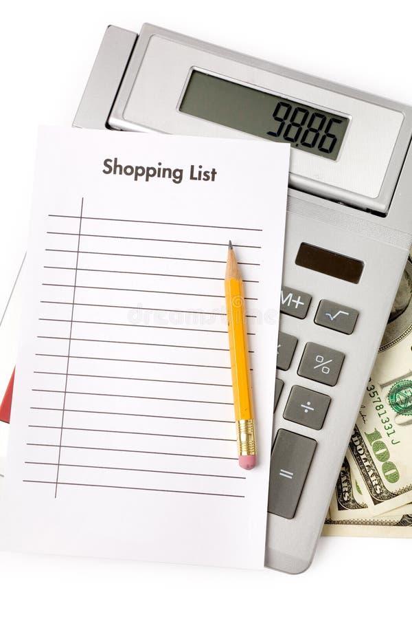 Het winkelen Lijst en calculator royalty-vrije stock foto