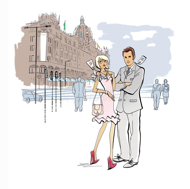 Het winkelen in Londen Week verkoop Voorzien kleding Een man en een vrouw in kleren met prijsverminderingsmarkeringen bevinden zi vector illustratie