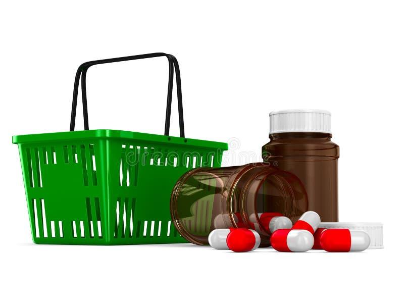 Het winkelen mand en geneesmiddel op witte achtergrond Geïsoleerdea 3D stock illustratie