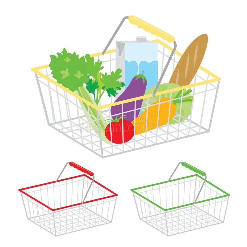 Het winkelen mand gezond organische vers en natuurvoeding vectorpictogram royalty-vrije illustratie